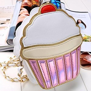 Ice Cream Bag Moda 2D divertente Ice Cream Cupcake Handbag Messenger Bag Zipper borsa Crossbody splicing Messenger Bag Key corpo