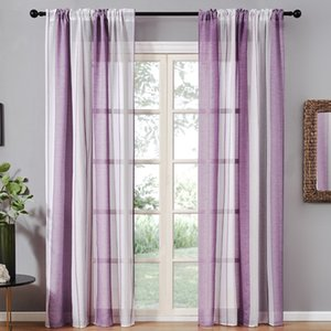 Gray Semi Voile Sheer Curtain Drapes for Bedroom Kitchen Living Room Stripe Gradient Home Decortion Tulle on Windows New