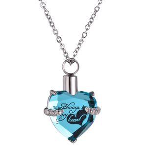Collar de corazón de tornillo de medallón para mujer joyería de lujo recuerdo colgante cremación cenizas conmemorativas urna collar de piedra