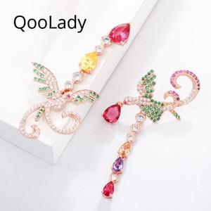 QooLady Elegante Asymmetrische Phoenix Design Multicolor Wassertropfen Zirkonia Rose Gold Farbe Lange Partei Ohrring für Frauen E015