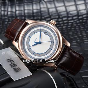 Luxe Nouveau Classique Calatrava 5296 5296R-001 Blanc / Cadran Bleu Japon Miyota 8215 Montre Pour Hommes Automatique Rose Boîtier En Cuir Bracelet En Cuir Montres