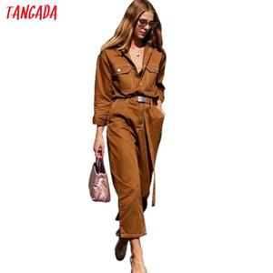 Tangada Donna Denim Tuta Pagliaccetto Cintura manica lunga Nero Bianco 2019 Lady Jeans Tuta Sexy da donna Streetwear Tuta 5a03 Y19071701