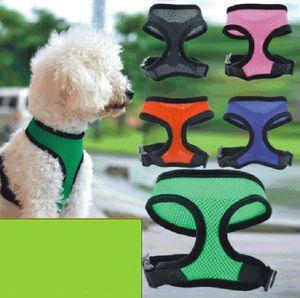 Malha Pet Harness macia Mesh Pet Harness ajustável filhote de cachorro respirável Cinto de segurança Strap malha Vest para o cão de filhote de cachorro Cat Acessórios LSK118
