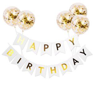 Globos de cumpleaños para niños 5pcs / lot globo con feliz cumpleaños carta banner baby girl boy Fish cola bandera