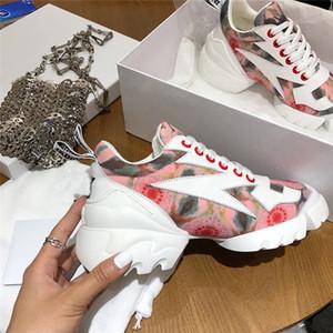 Diseñador de moda de lujo 2019 zapatos de mujer Mujer Neopreno Grosgrain Ribbon D-Connect zapatillas Lady Wrap-around Suela de goma Zapatos casuales