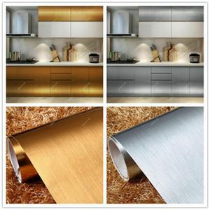 Papel pintado autoadhesivo de película de vinilo cepillado de acero inoxidable Pegatinas de pared de cocina