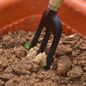Strumenti 3Pcs Giardino a mano Set di ferro giardinaggio forcella della pala Rastrello Manico Spatola Legno
