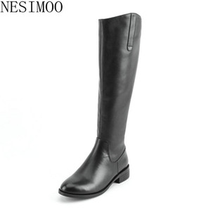 NESIMOO 2019 Fashion Women Boots Round Toe Genuine Leather Square Med Heel Zipper Basic Black All Match Ladies Shoes Size 34-40