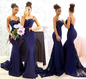 2020 azul New Navy Mermaid Vestidos dama de honra Lace Applique Spaghetti convidado do casamento da madrinha de casamento vestidos BA7878