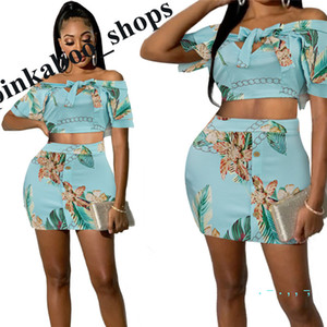 Summer donne stampa floreale Tuta manica corta fuori-spalla di Bowknot parti superiori del T + Gonne 2 pezzi Set Sexy Ladies semi-tight Skirt Suit LY401