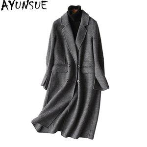 Mujeres de lana de las mujeres Ayunsue otoño abrigo de invierno mujeres Inglaterra estilo a cuadros real hembra chaquetas largas ropa exterior Manteau femme 37121 wyq1183