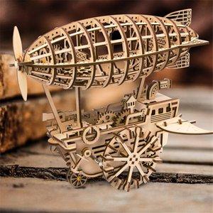3D rompecabezas juegos rompecabezas de madera rompecabezas Vehículo aéreo Kits de Ingeniería Mecánica Juguetes Engranajes regalos determinados