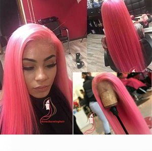 Rose pink colored Full Lace Wigs Virgin Soft pink Human Hair colored hair lace Wigs For Women Bleached Knots