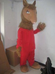 Halloween-Lama-Maskottchen-Kostüm-Qualitäts-Karikatur-roter Pyjama Brown-Kamel Anime-Themacharakter Weihnachtskarnevals-Party-Kostüme