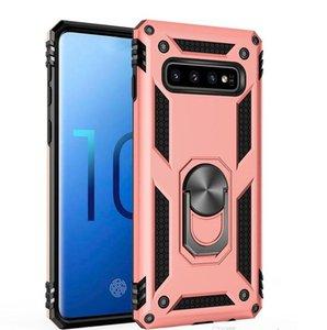 Hibrit Zırh Telefon Kılıfı Çubuğu Darbeye Kılıf Silikon Tampon Kapak For Samsung S10 S10E S9 Artı A40 A70 M80 Metal Parmak Halkası Kılıf