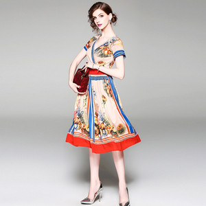 Fashion Summer Women V Neck Floral Printed Brand Pleated Runway Dresses Elegant Short Sleeve Tunic Elegent Dress Vestidos De Festal
