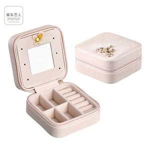 Protable PU Caixas de armazenamento de Jóias Mini Quadrado coleção de jóias Organizador Brincos Colar Anel caso de viagem Acessórios Titular Bolsa
