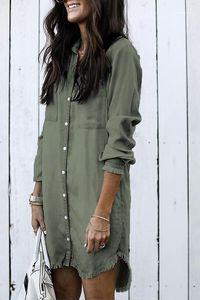 Blouses Summer Loose Button Tassel Lapel Neck Shirts Long Sleeve Ladies Party Street Clothing New Women Denim