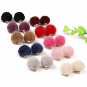 Hadas baratas 10pcs / lot 15 mm de lana hecho a mano encantos de la caída de la bola Pompón colgante de la pulsera del collar para la joyería que hace DIY pendiente Fingdings