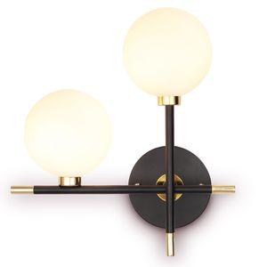 간단한 예술 장식 LED 가 벽 램프 구리 2 개의 전구 벽 Sconce 대 옆 실내 집에 전등 설비는 유리 램프 벽 램프를 위한 거실