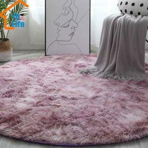 Round Tapis nordique Ins style dégradé Tapis colorés pour Living Room Chambre Tapis de fourrure Tapis de grande taille Hanging panier Tapis Tapis