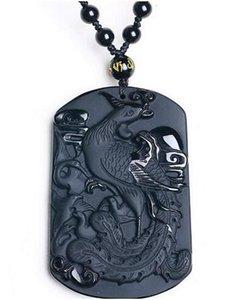negro obsidiana Phoenix colgante rey collar colgante joyas de Jade Jade joyería fina