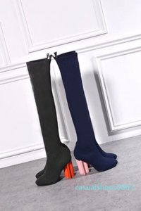 2019 Designer women's heels autumn and winter Knitted elastic boots Sexy socks and Knee Boots Fashion stockings shoes Long boots us4-11