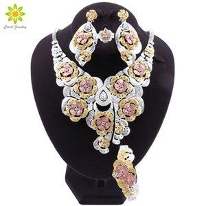 Комплекты ювелирных изделий способа Dubai Gold Silver Plated Bridal для женщин Африканский цветок ожерелье Кристалл серьги браслет кольцо MX200528