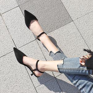 2020 Босоножки Обувь Женщина замши Faux кожа Высокие каблуки Toe Pumps Остроконечные женские сандалии Sexy Твердая Flock Управление леди Карьера
