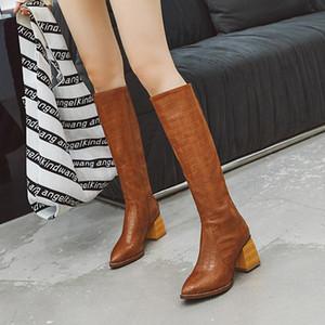 أسود أصفر فو جلد البقر الشتاء الركبة أحذية عالية للساحة المرأة كعب أحذية الأفعى طباعة راعية البقر الغربي 2019