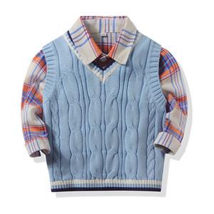 Herbst-Winter-neuen Jungen Langarm-Klassiker Plaid Revers Shirts Tops mit Strickweste Warm Baby Freizeithemd Kinderkleidung
