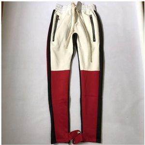 Pantalón con cremallera para hombre y Anke Zip Pantalones de entrenamiento Pantalones largos largos Pantalones de chándal Miedo a Dios Lado Rayado Retro Pantalones Hombre