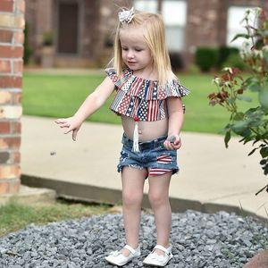 Summer girls outfits 2020 new INS baby kids star stripe printed falbala tank top +hole stripe denim shorts 2pcs children casual sets A2766