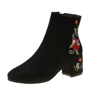 2019 new retro national wind embroidered boots children's short high heel thick with embroidered bare mother women's