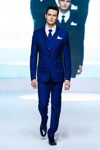 로얄 블루 두 버튼 신랑 턱시도 천 노치 옷깃 정장 웨딩 드레스 들러리 정장 남성 (재킷 + 바지 + 조끼 + 넥타이)