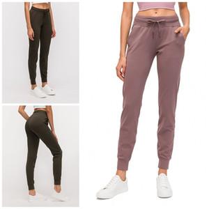 Pantaloni Yoga Sport Fitness Pure Color coulisse Leggings Abbigliamento donna Esercizio Pantaloni abbigliamento Fast Dry 64dq E19