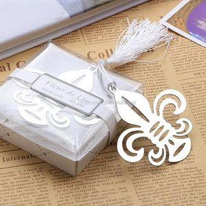 Fleur De Lis Bookmarks Metal flower-de-luce Bookmarks para Baby Shower Recuerdos Favores de boda y regalos para invitados DHL Envío gratuito