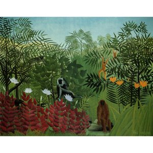 High quality Henri Rousseau Oil painting Tropical Forest with Apes and Snake Hand painted animal art for living room wall decor