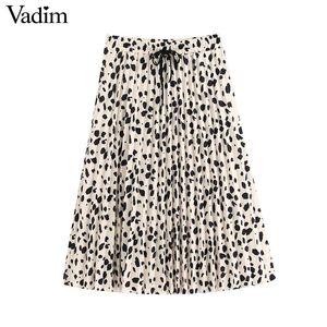 Vadim women elegant print pleated skirt drawstring tie elastic waist office wear female casual stylish chic midi skirts BA910
