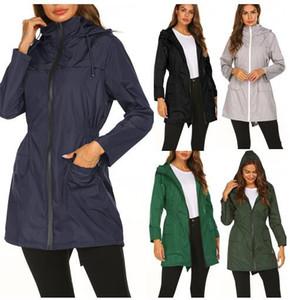 Dört mevsim giyebilir yeni su geçirmez hafif yağmurluk Kapüşonlu toplamak bel açık rüzgarlık dağcılık ceket kadın