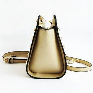 M.S Scarves Panelled Striped Shoulder Bag Made Of Leather Brand Small Vogue Shoulder Bags Women Rivets Luxury Designer Handbag Wb398#748