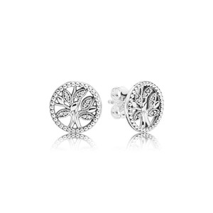 2019 Nova Chegada Árvores de Vida Brincos Caixa de Varejo Moda 925 Sterling Silver CZ Diamante Brinco Mulheres Meninas Presente Jóias