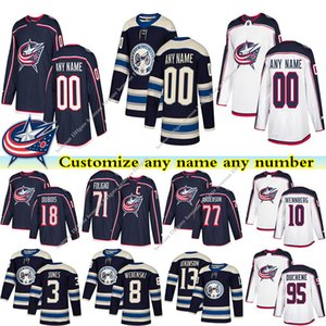 Blue Jackets Trikots 13 ATKINSON 3 JONES 71 FOLIGNO 18 DUBOIS 95 DUCHENE 8 WERENSKI benutzerdefinierte beliebige Anzahl beliebiger Name Hockey Jersey