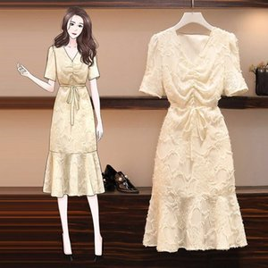 TiLeewon 2020 New Style Summer Dress Solid Color Slim Trumpet Dress Plus Size 3XL Fashion Office Lady