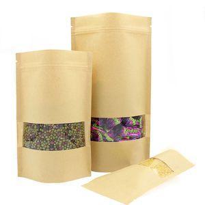Kraft Paper Self-sealing Ziplock Bag Tea Nut Dry Fruit Food Packaging Bags Reusable Moisture-proof Vertical Bag With Transparent Window