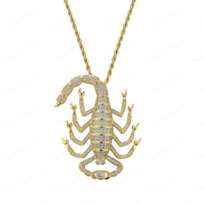 Iced Out Scorpion Pendant Pendant Necklace With Tennis Chain Bling Hip Hop Gold Silver Color Mens Women Charm Chain Jew