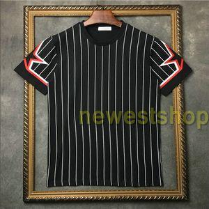 2020 nuovo progettista stile mens camicia di stampa T strisce stampa stella T moda camicia pentagramma stelle mens delle magliette del cotone casuale T Designer