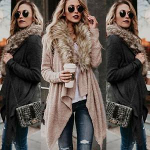 Moda Kadın Coat Kış Kalın Sıcak Casual Aşağı Coat Uzun Kollu kabartmak Coat Lady Örme Triko Hırka Dış Giyim Ceket