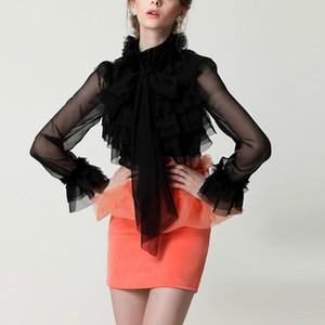 new shirt lady summer vintage girl ladies royal princess bow chiffon ruffles blouse Plus size