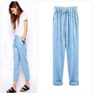 Summer female designer new pants female imitation cotton and linen nine-point pants plus fertilizer XL loose thin women's pants